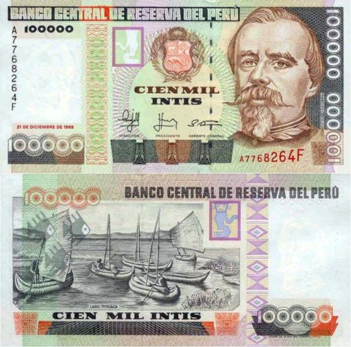 Billete de 100000 Intis