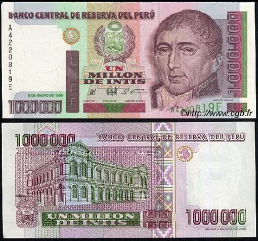 Billete de 1000000 de Intis