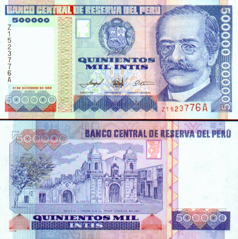 Billete de 500000 Intis