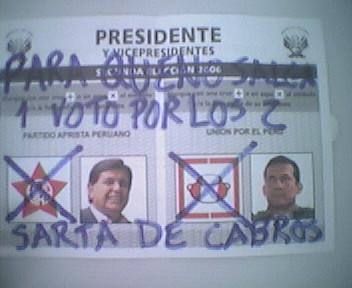 Mi voto en la Segunda Vuelta Electoral del 2006